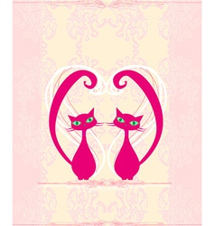 cute cat in love card vector image
