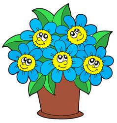 cute flowers in pot vector image