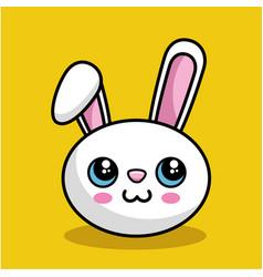 Cute rabbit character kawaii style vector