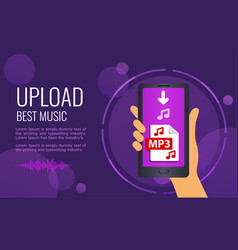 design banner - upload best music mobile phone vector image