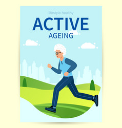 Design poster active ageing elderly woman is vector
