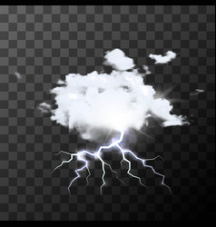 Detailed realistic rainy cloud with bright flash vector