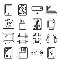 devices and gadgets icons set on white background vector image