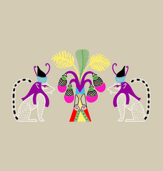 Egyptian pattern with two cat gods and a palm tree vector