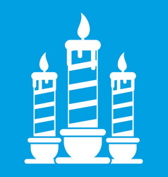 Festive candles icon white vector