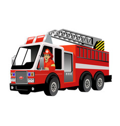 fire fighter driving fire truck vector image