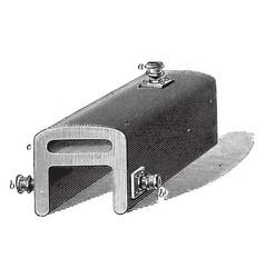 Flue and terminal end saddle boiler vintage vector