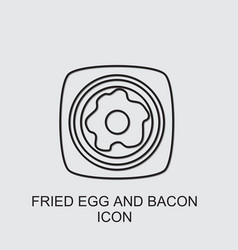 Fried egg and bacon icon vector