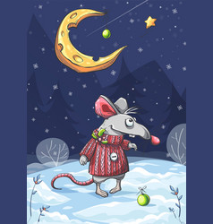 funny mouse under moon vector image