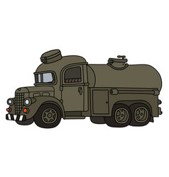Funny vintage military tank truck vector