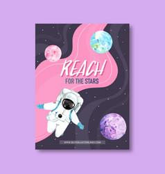 Galaxy poster design with astronaut venus neptune vector