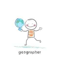 Geographer is in the hands of the globe vector