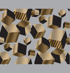 Gold and black geometric cubes in dynamic chaos vector