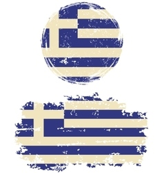 Greek round and square grunge flags vector