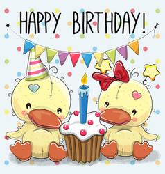 Greeting card two cute cartoon ducks vector