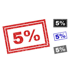 grunge 5 percent scratched rectangle stamp seals vector image
