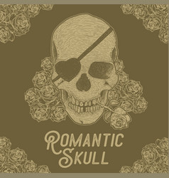 hand drawn skull with rose vector image