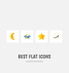 Icon flat bedtime set of nighttime crescent star vector