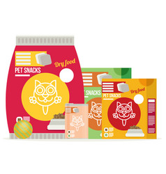 Icon of cat food set icon design for pet shop vector
