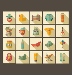 icons of products for newborns vector image