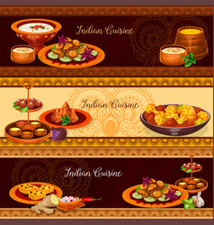 Indian cuisine traditional food banner set vector