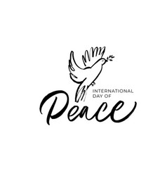 international peace day hand written lettering vector image