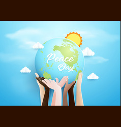 Internationnal peace day concept hands holding vector