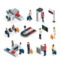 Isometric people in airport set vector