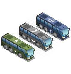 Isometric Set of Military Buses vector