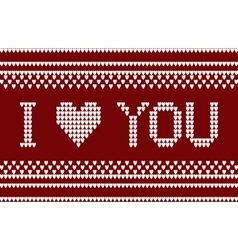 Knitted pattern with I love you inscription vector
