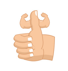 Like strong fitness thumbs up with big muscles vector