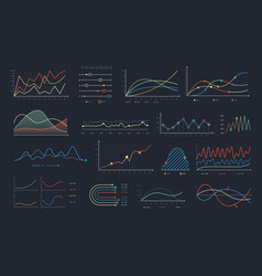 line graph linear chart growth business diagram vector image