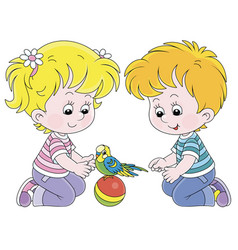 Little children playing with a funny small parrot vector