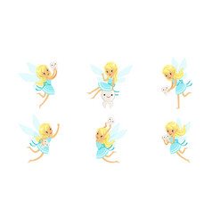 little cute tooth fairy in blue dress in different vector image