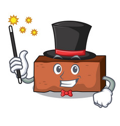 Magician brick mascot cartoon style vector