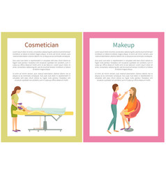 Makeup and cosmetician services in spa salon vector