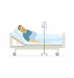 Man in hospital on a drip - cartoon people vector