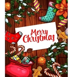 Merry Christmas holiday sketched poster design vector image