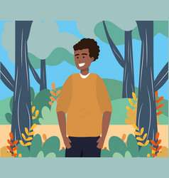 Millennial person stylish outfit outdoors vector