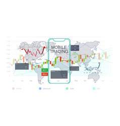 Mobile stock market investment trading vector