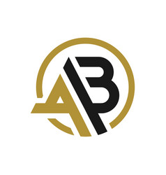 monogram circle logo with letter ab vector image