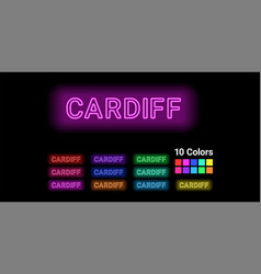 Neon name of cardiff city vector