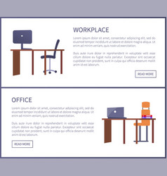 Office workplace web posters set with empty tables vector