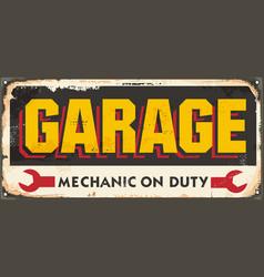 old garage sign vector image