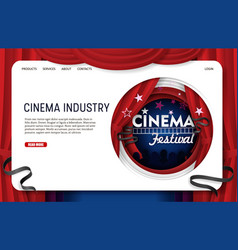 paper cut cinema industry landing page vector image