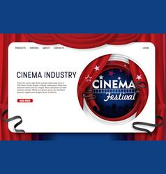 Paper cut cinema industry landing page vector