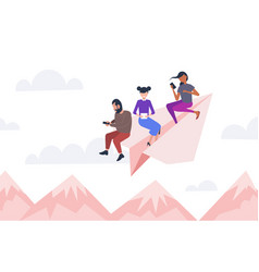 people flying on paper airplane mix race vector image