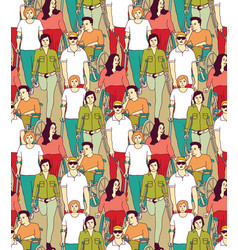 People with disabilities big group color seamless vector