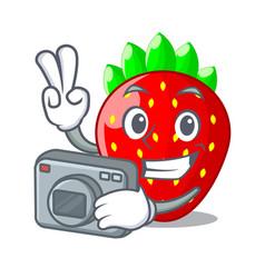 photographer fresh ripe strawberry isolated on vector image