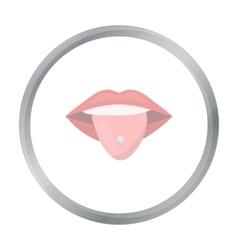 Pierced tongue icon cartoon Single tattoo icon vector image